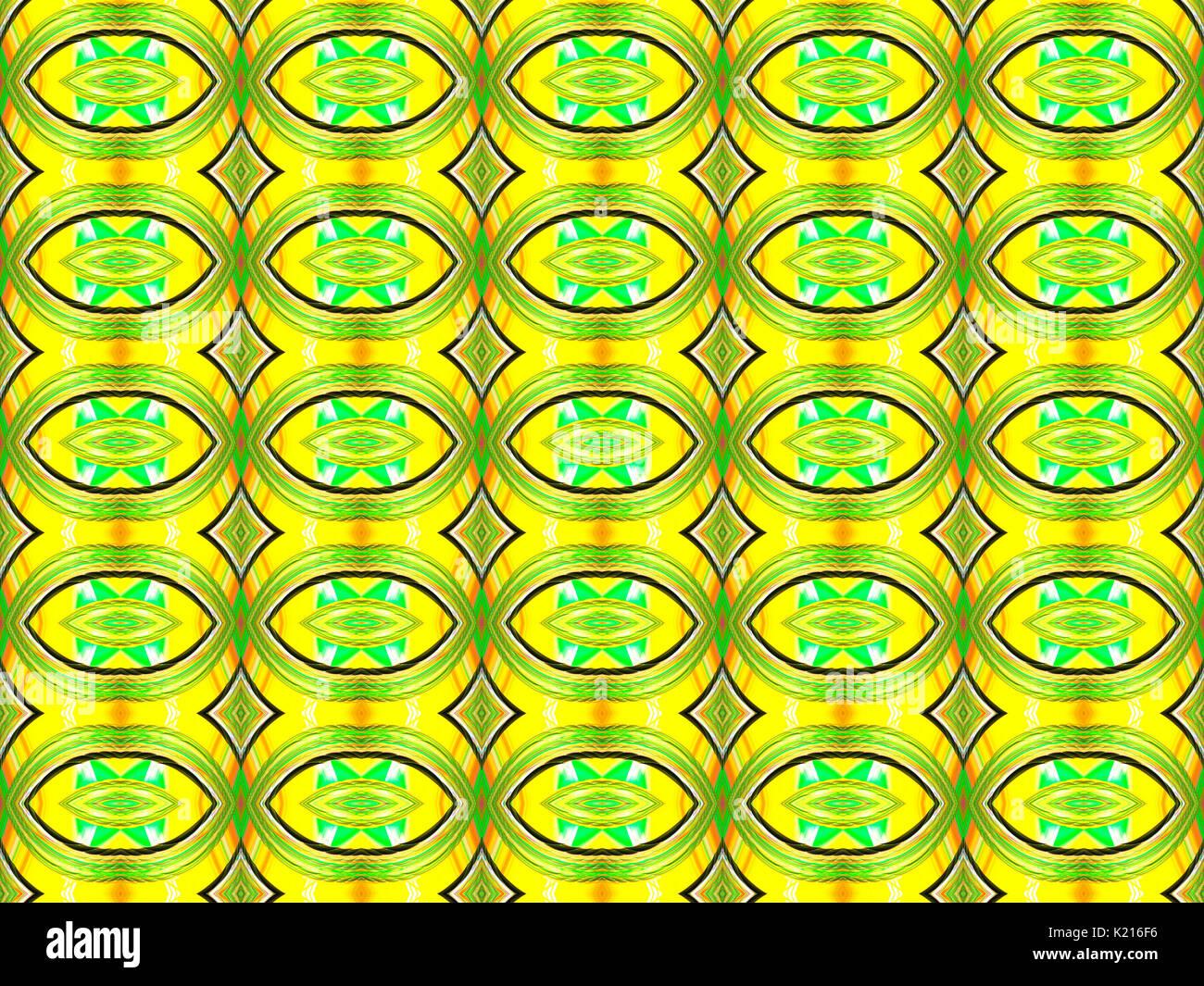 Ovali e rombi in verde e giallo - Modello di sfondo Immagini Stock