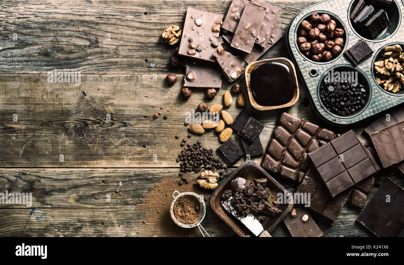 Assortimento di tipi di cioccolato Immagini Stock