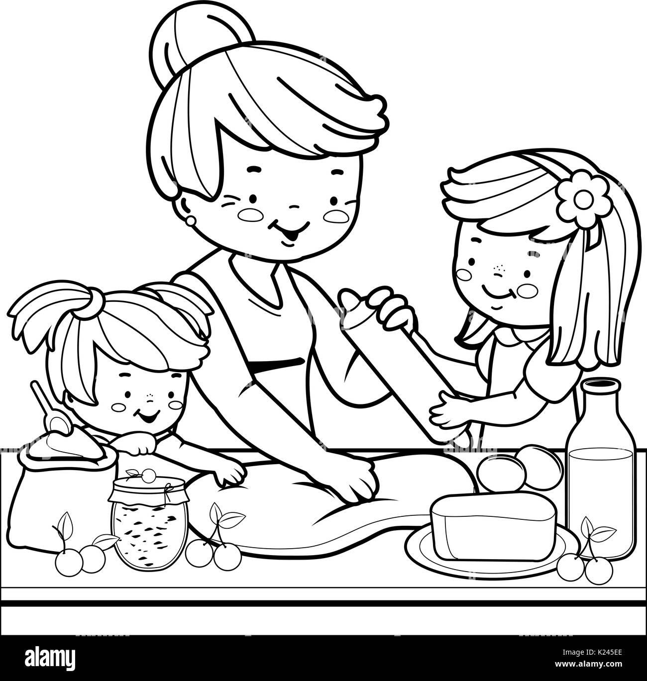 Nonna e bambini cucina in cucina. Libro da colorare pagina ...