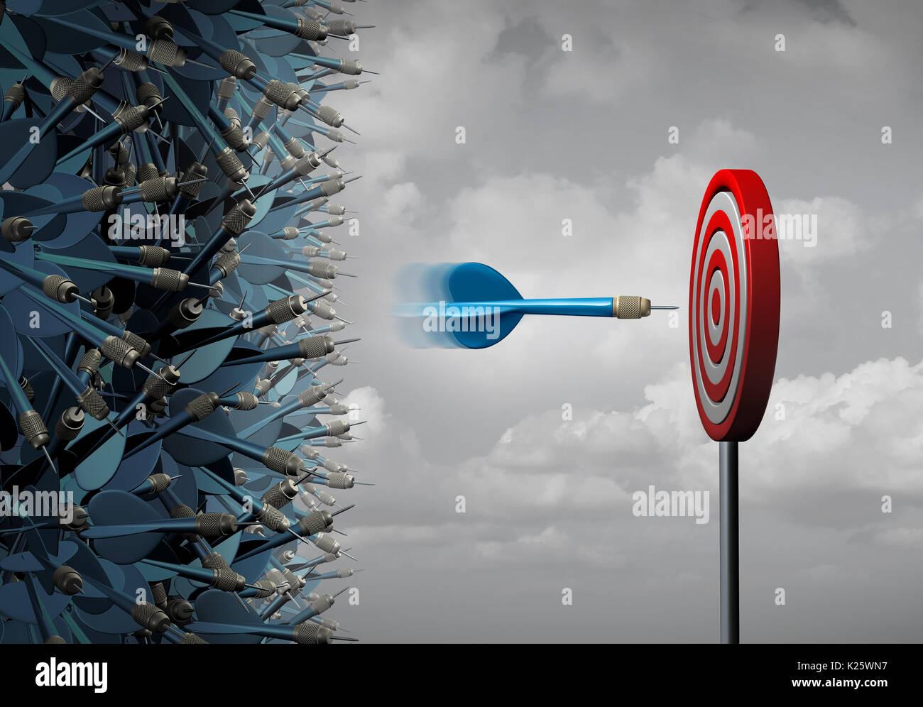 Il focus aziendale il successo come un gruppo di perso freccette e un esperto dart si è focalizzato su un obiettivo di destinazione come una precisa determinazione metafora. Immagini Stock