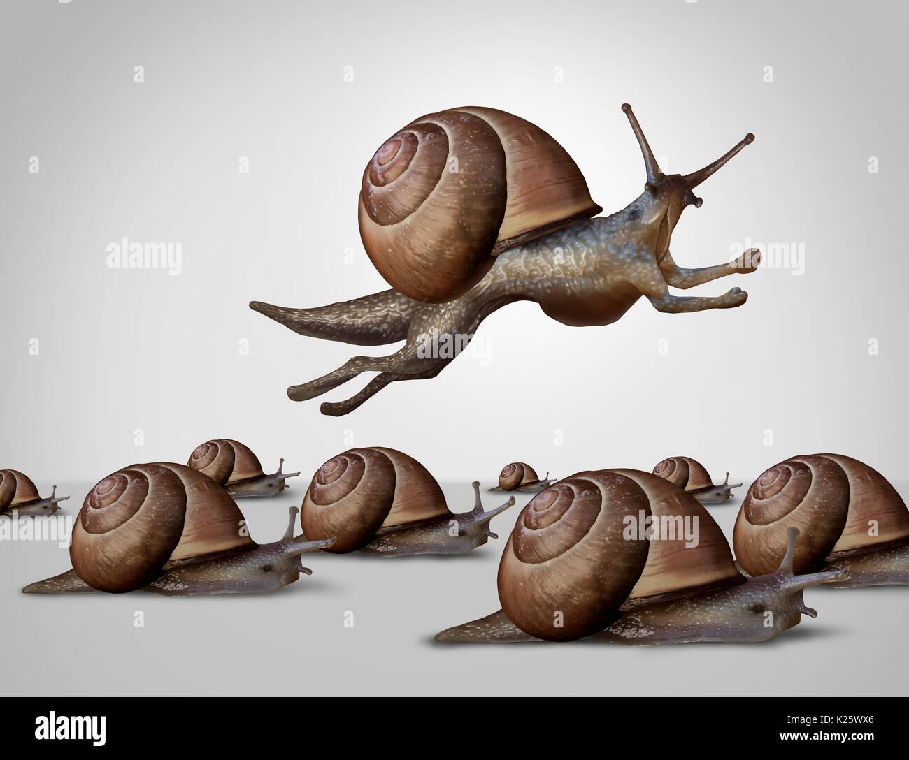 Concetto di cambiamento e modifica per meglio competere come un gruppo di lenti racing le lumache con un singolo leader veloce va a passo di lumaca con esecuzione degli arti. Immagini Stock