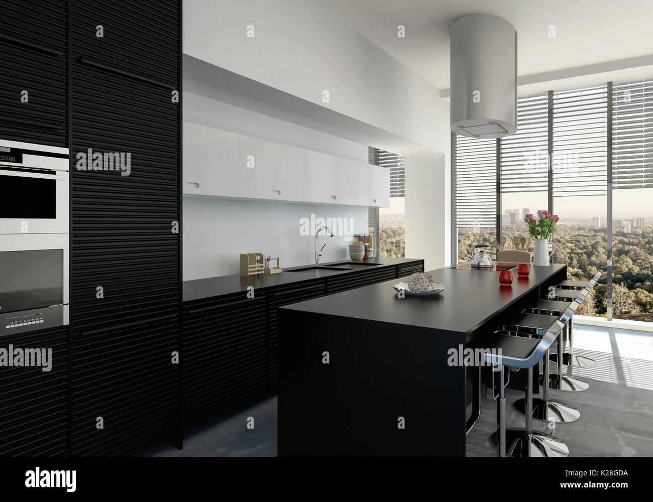 Elegante e contemporaneo in bianco e nero la cucina interna con
