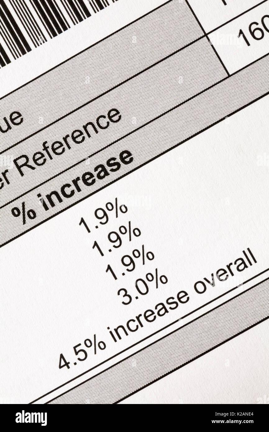Dettaglio di aumento della tassa del Consiglio bill mostra % aumentare con 4,5% di aumento nel complesso Immagini Stock
