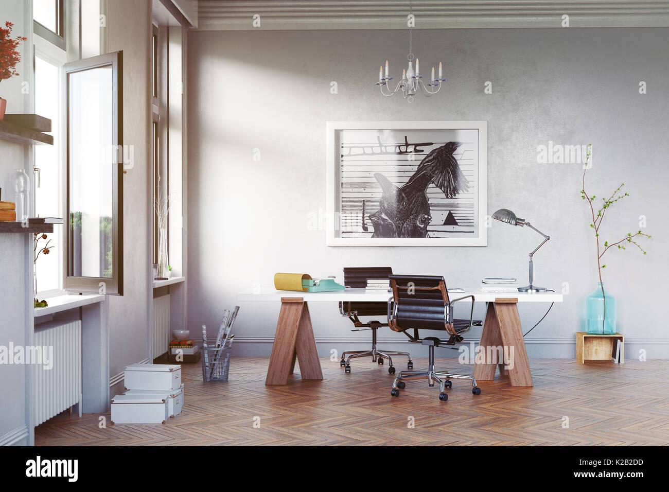 Moderno studio sala con tavolo e poltrone. 3D rendering concettuale Immagini Stock