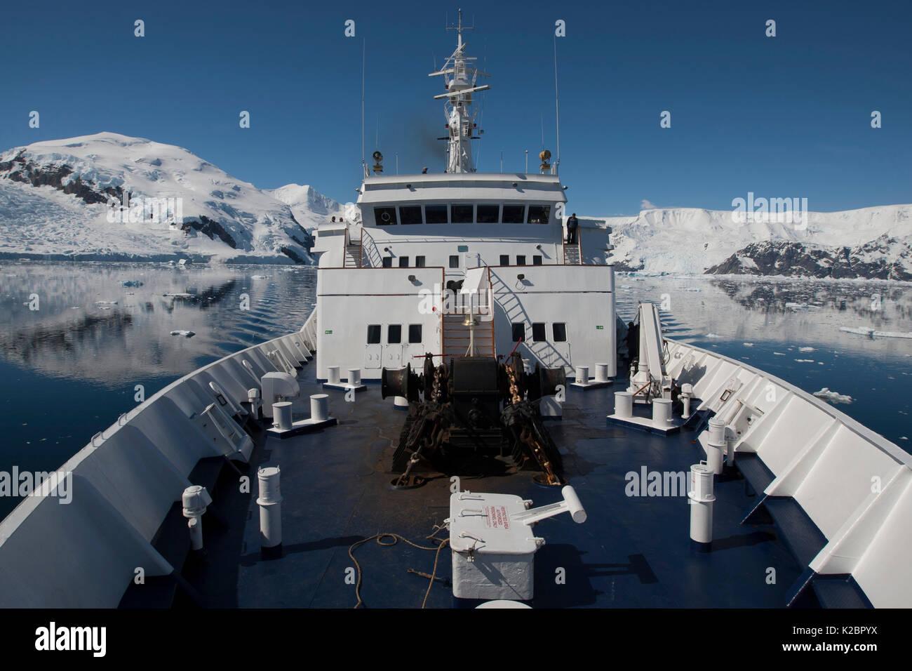 Vista dalla prua di 'Clipper Adventurer' in Neko Harbour, Andvord Bay, Penisola antartica. Gennaio 2012. Tutti i non-usi editoriali deve essere eliminato singolarmente. Immagini Stock