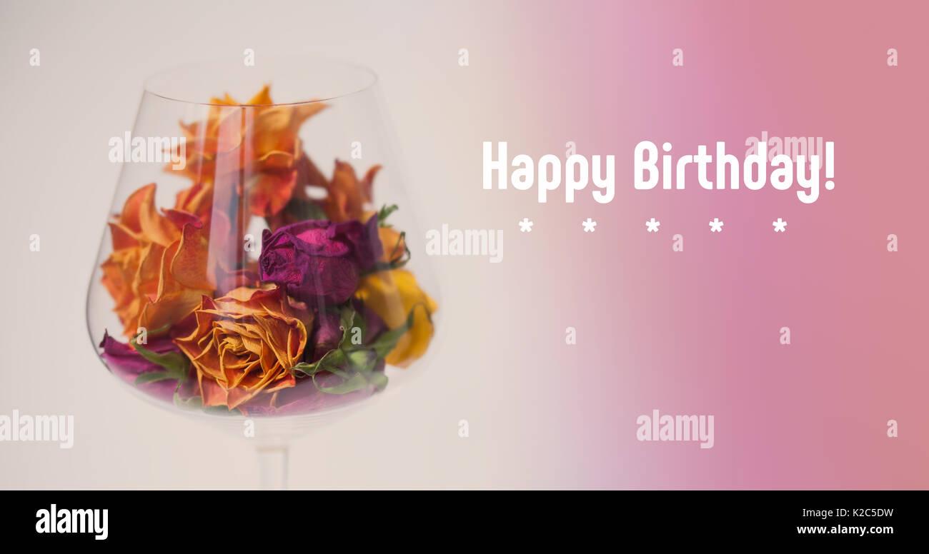 Buon Compleanno Decorata Carta Essiccata Rose Fiori In Vetro