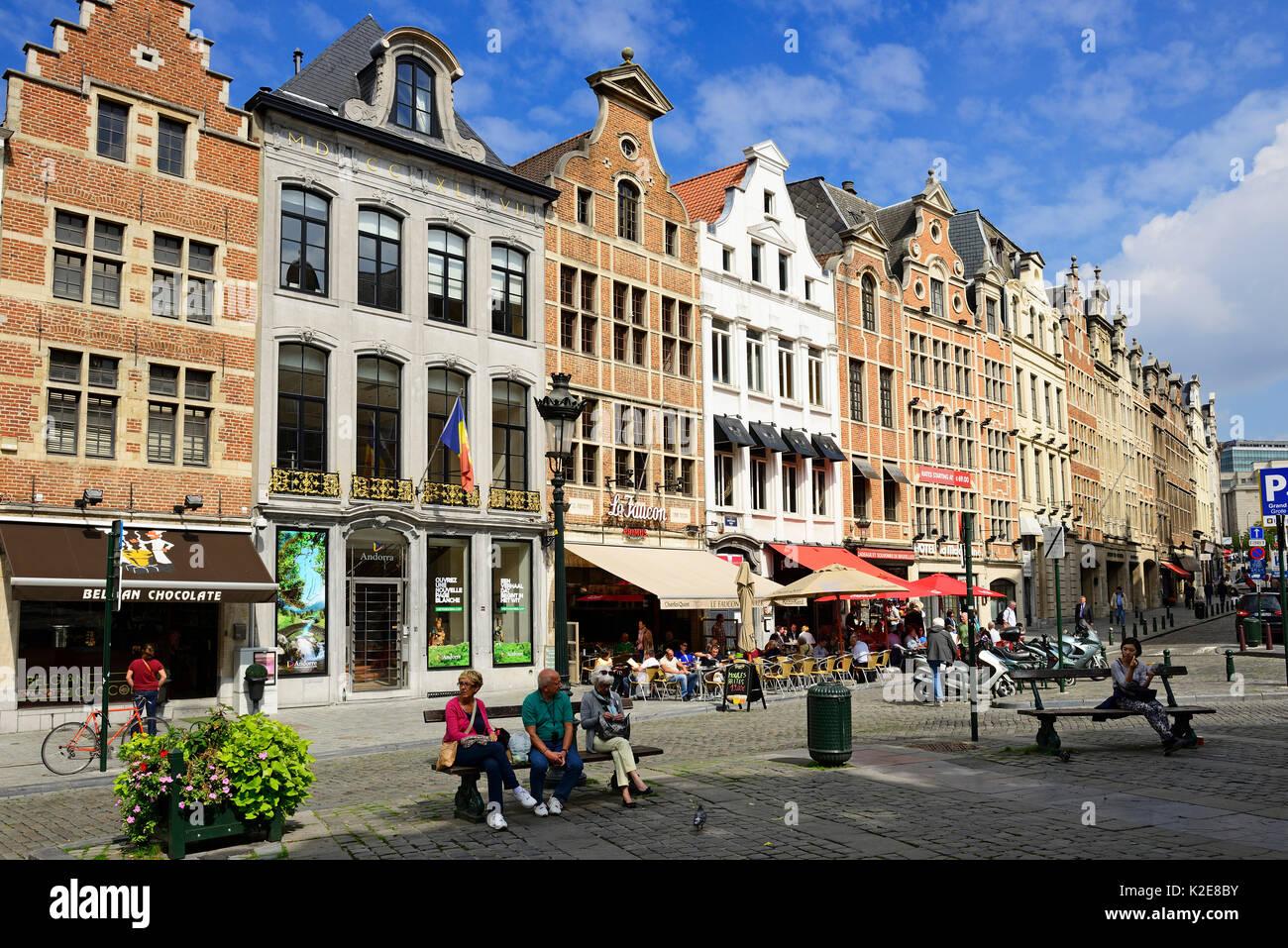 Rue de la Montagne, Bergstraat, Bruxelles, Belgio Immagini Stock