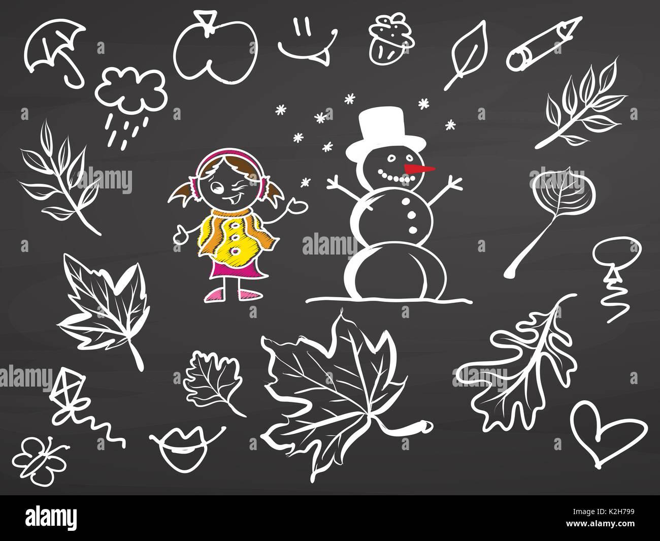 Sogni d'autunno. Doodle sulla lavagna, vettore handdrawn sketch, pulire delinea, in stile vintage Blackboard. Immagini Stock