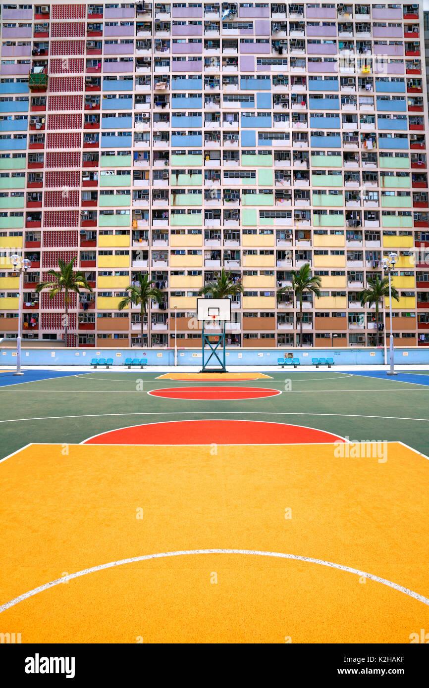 Choi Hung Estate in Hong Kong - vibrante e la fantastica architettura Immagini Stock