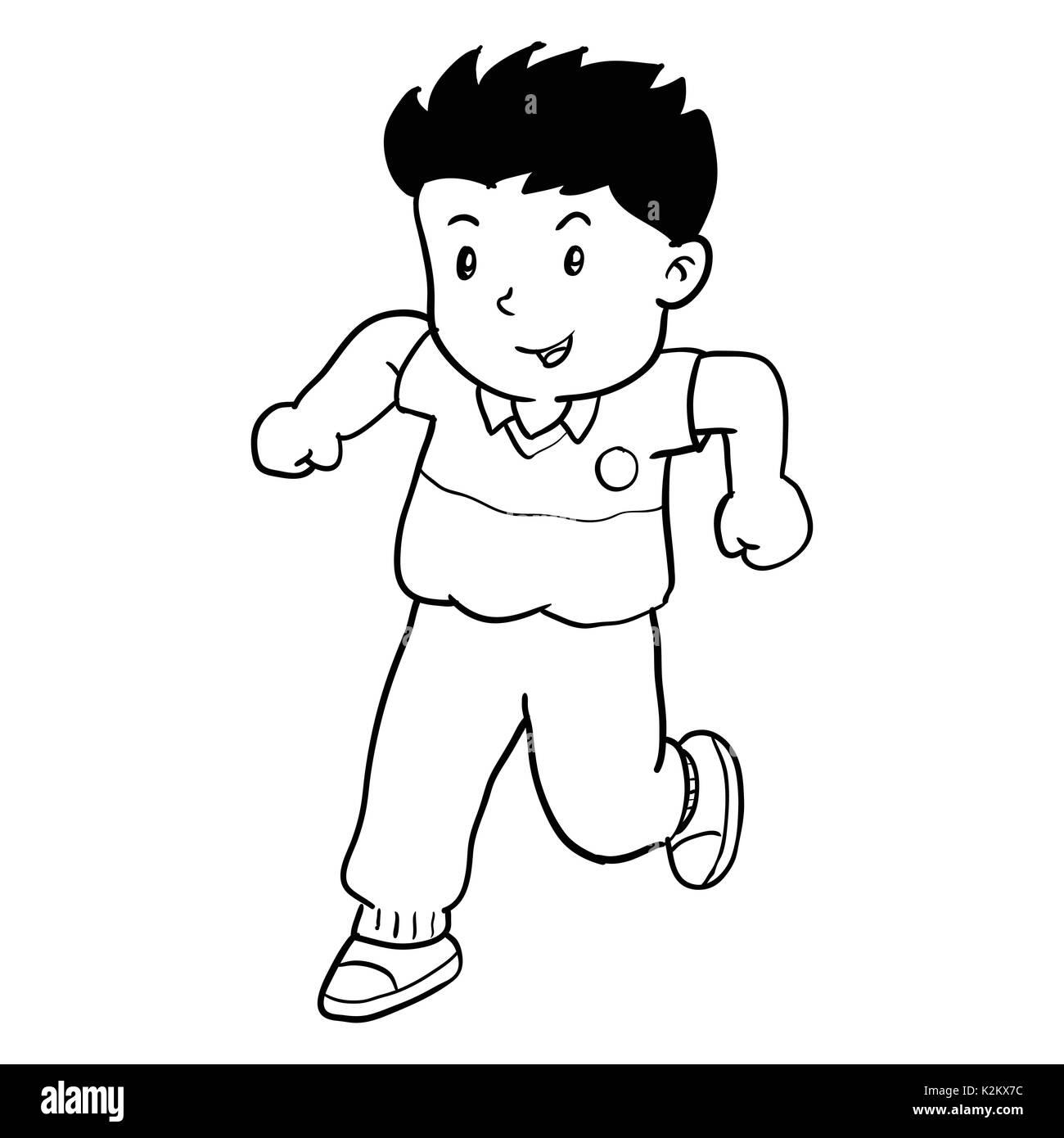 Disegno A Mano Di Boy Runnin Isolati Su Sfondo Bianco Bianco E Nero