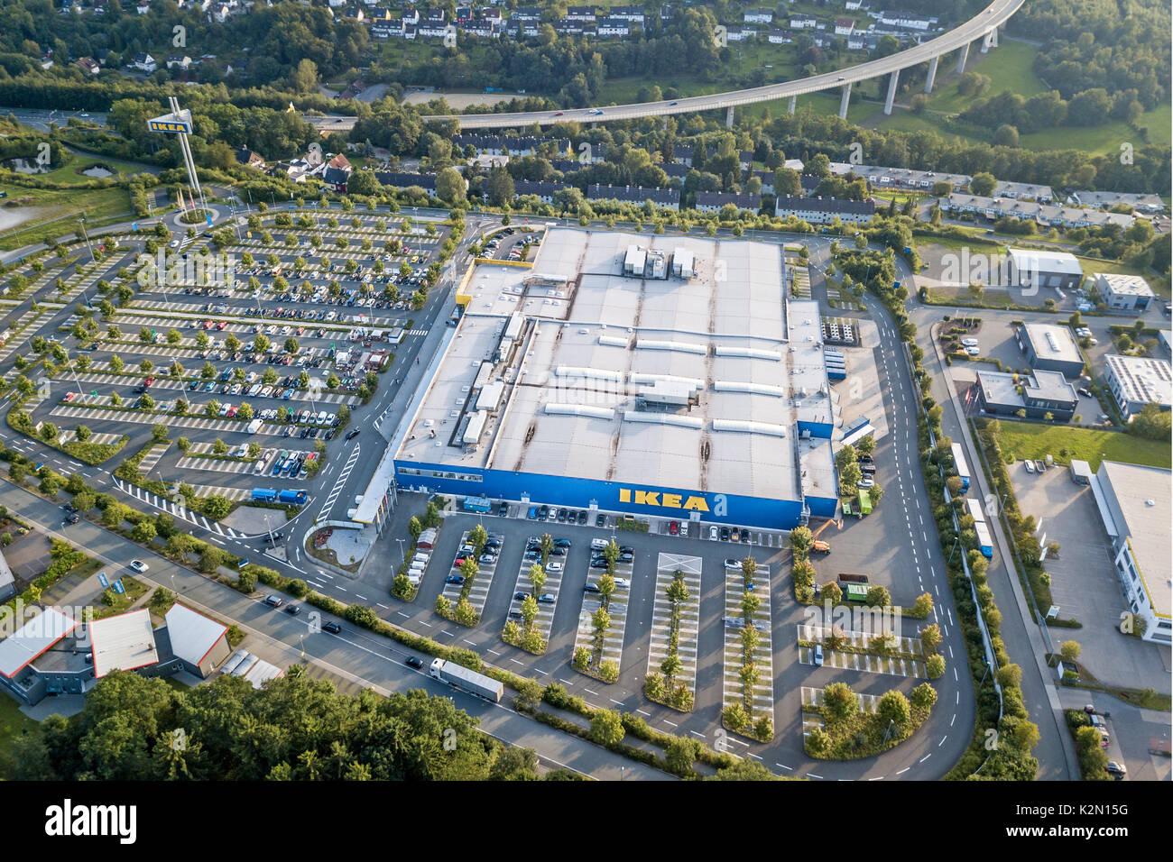 Siegen, Germania - 24 AGO 2017: veduta aerea l'arredamento IKEA store a Siegen. Siegerland della Renania settentrionale-Vestfalia, Germania Immagini Stock