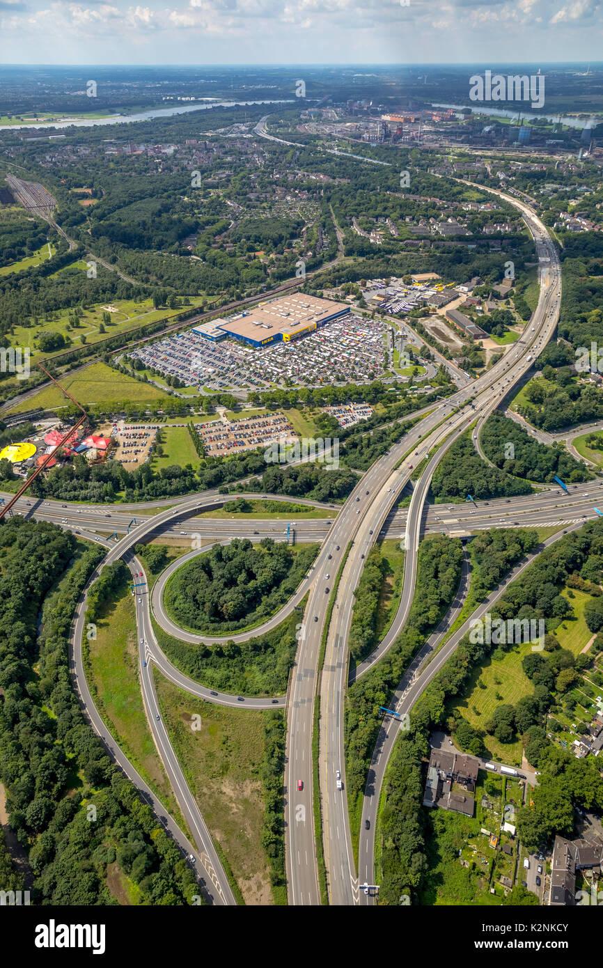Arredamento IKEA store, giunzione autostradale Duisburg-Nord, autostrada A42 e l'autostrada A59, Duisburg, Ruhrgebiet Immagini Stock