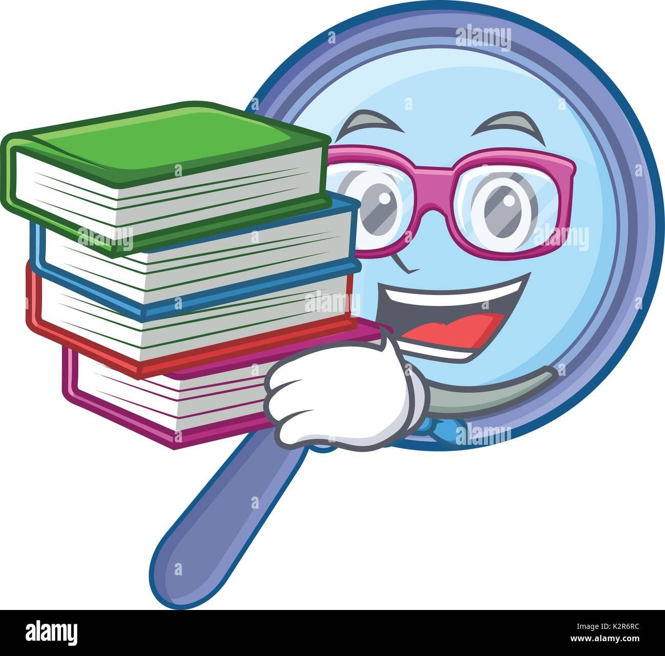 Studente con libro lente di ingrandimento carattere cartoon Illustrazione Vettoriale
