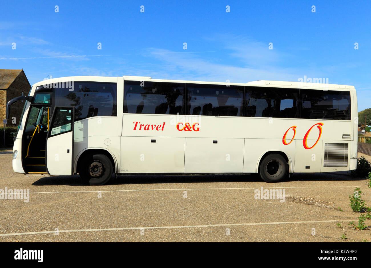 C&G, C & G Travel, pullman, autobus e gite di un giorno, viaggio, escursione, escursioni, vacanza, vacanze, società, imprese, England, Regno Unito Immagini Stock