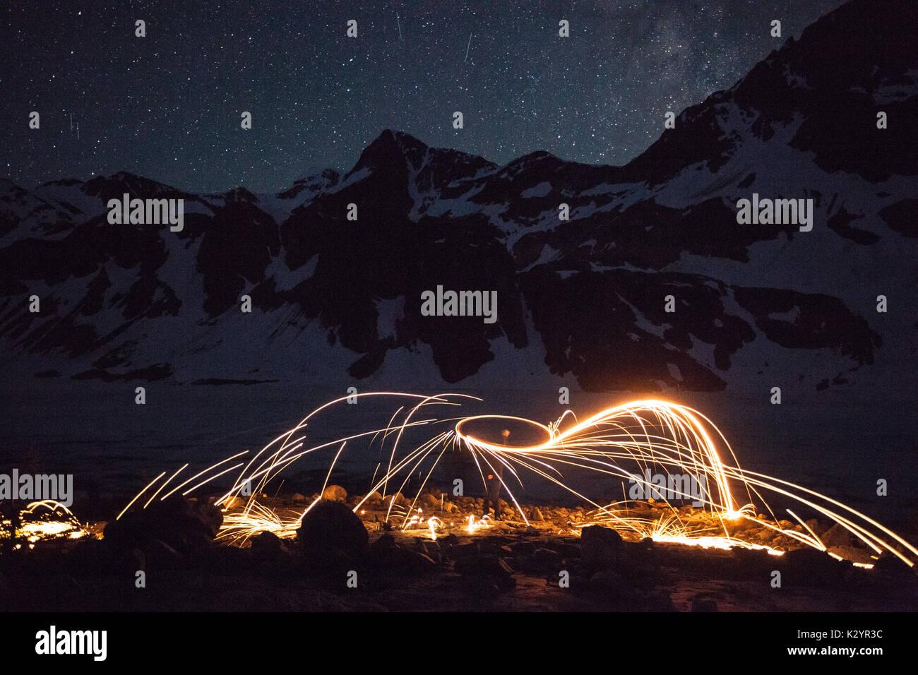 Illuminare la notte, Garibaldi Provincial Park, BC Immagini Stock