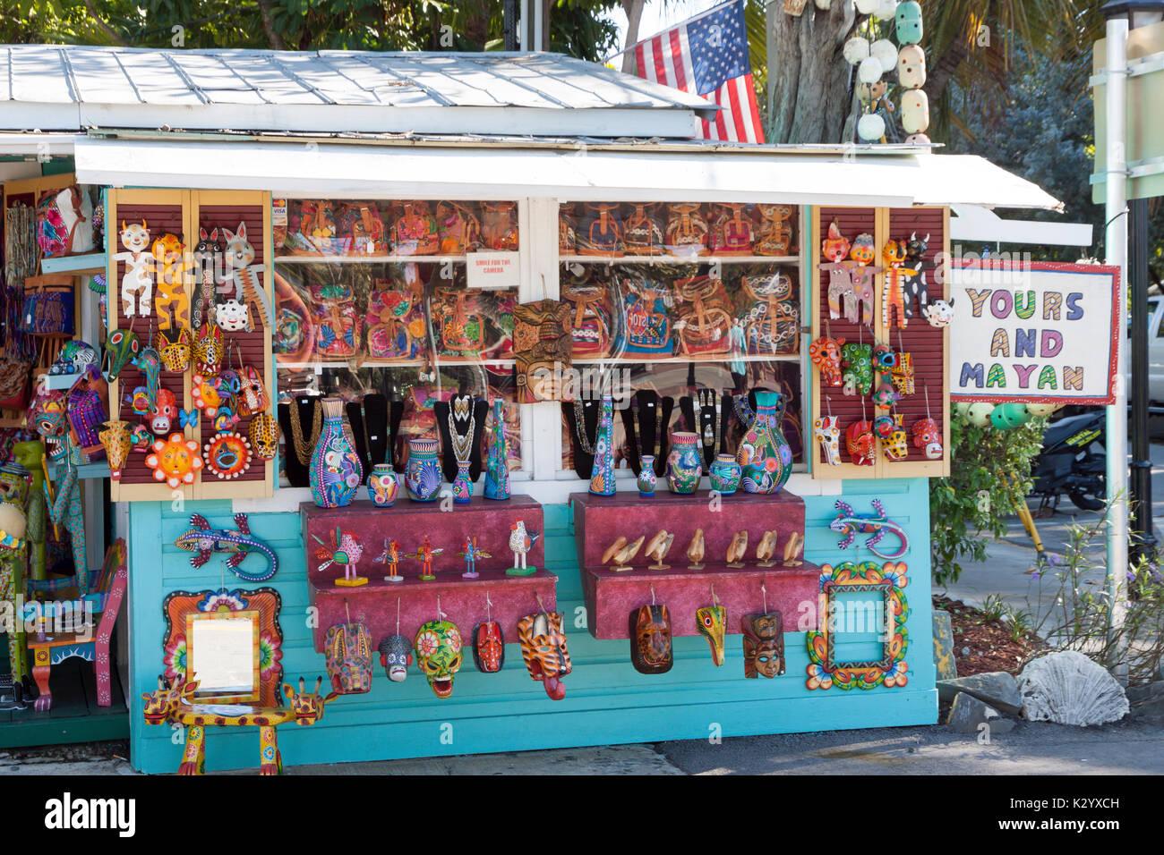 La tua e maya, un negozio di Key West, FL, vende artigianato importato dall America centrale attraverso il commercio equo e solidale, per aiutare le persone ad essere economicamente indipendenti. Immagini Stock