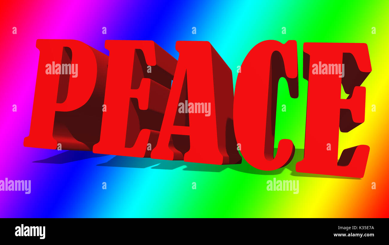 La parola pace contro un arcobaleno colorato gradiente dello sfondo. Immagini Stock