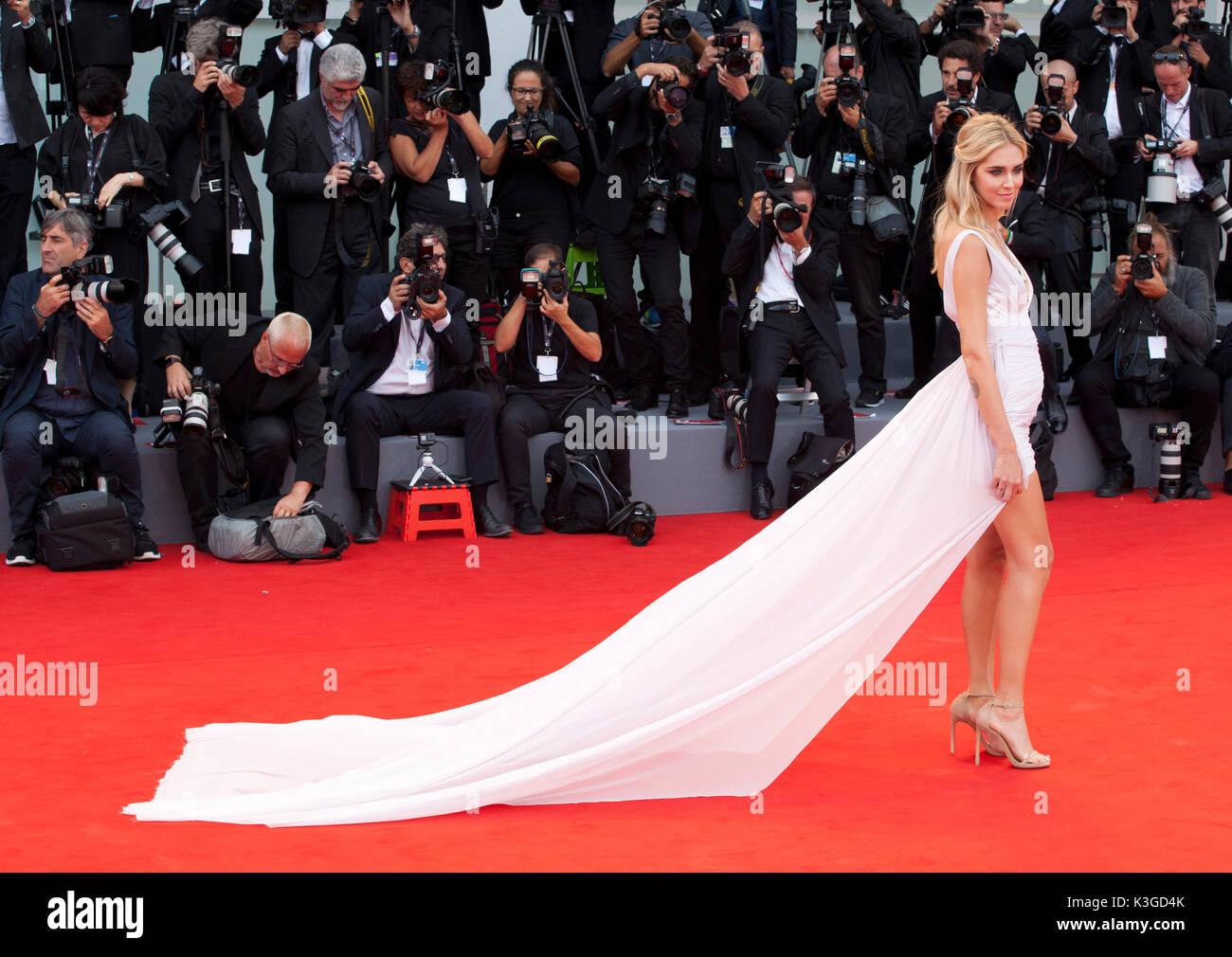 Venezia, Italia. 2 Sep, 2017. Chiara Ferragni alla premiere del film Suburbicon alla 74a Mostra del Cinema di Venezia, Foto Stock