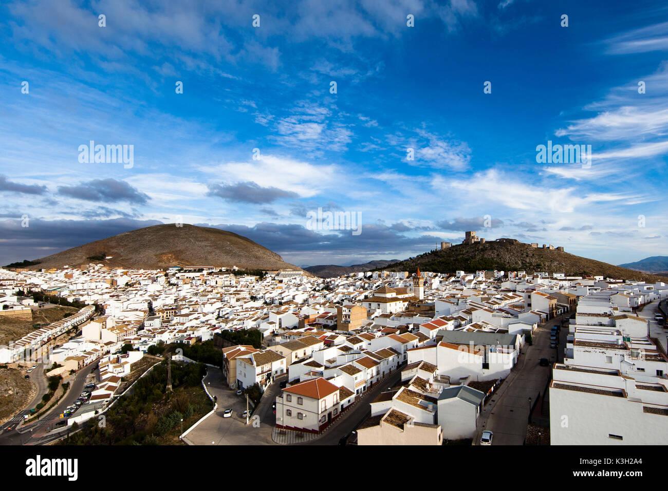 Teba, castello de la Estrella, villaggio di montagna, Andalusia, fotografia aerea, provincia di Malaga, Spagna Immagini Stock