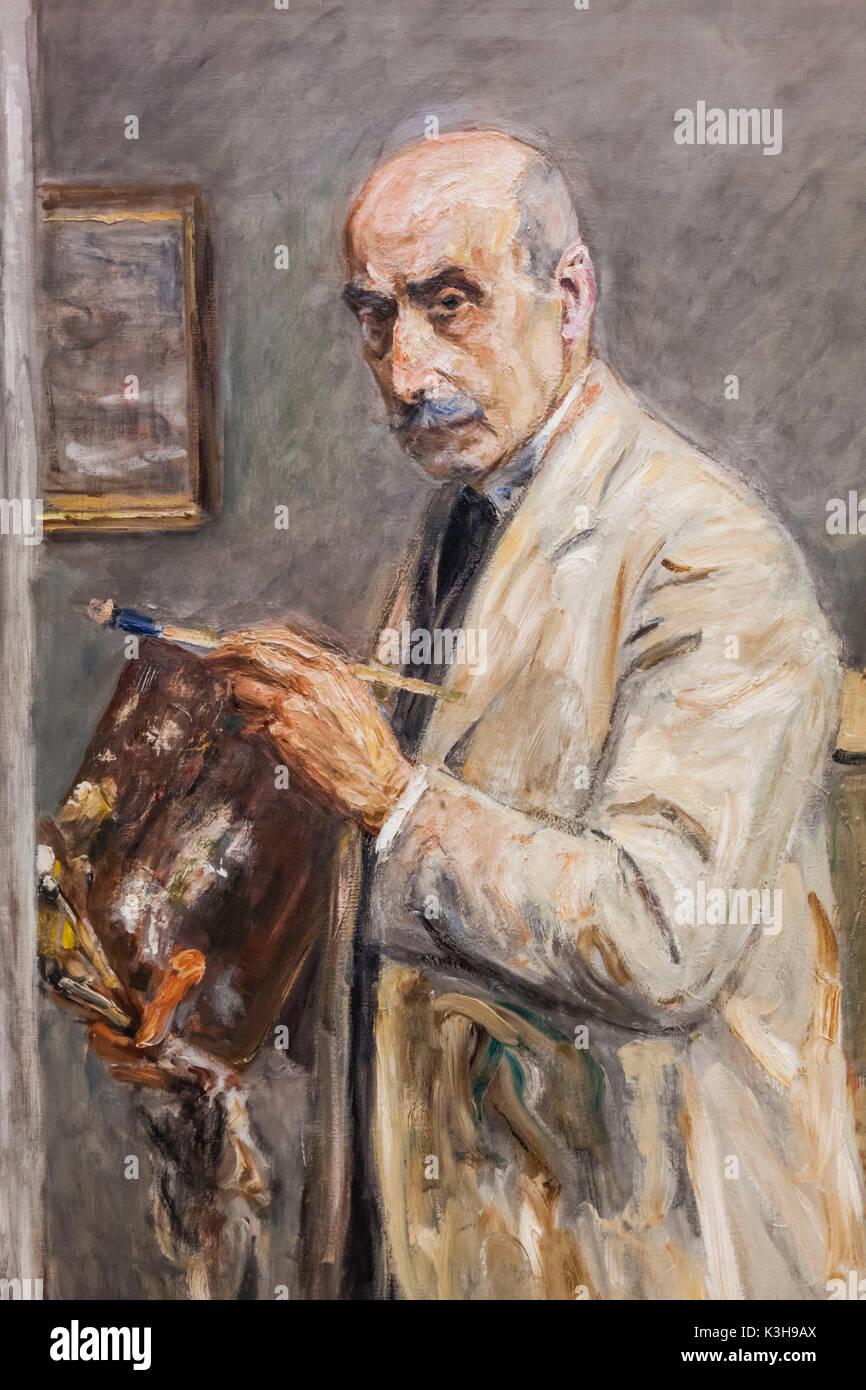 In Germania, in Baviera, Monaco di Baviera, il nuovo Museo Pinacoteca (Neue Pinakothek), Pittura intitolato 'SELF Ritratto del pittore' globale (Selbstbildnis Malkittel im) da Max Liebermann datata 1922 Immagini Stock