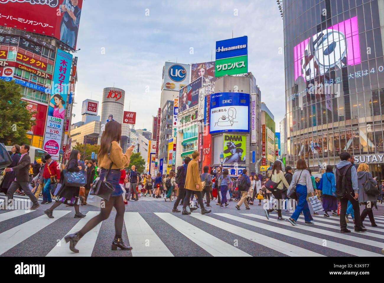 Giappone Tokyo City, il quartiere Shibuya, vicino alla Stazione di Shibuya Immagini Stock
