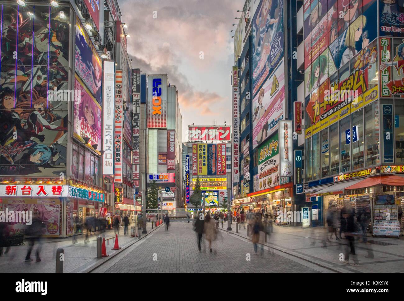 Giappone Tokyo City, Akihabara Electric Town Immagini Stock