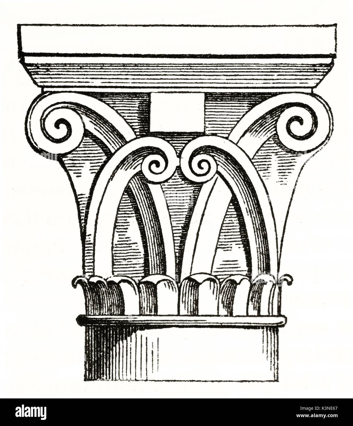 Dettagli architettonici di una colonna capitale nella cripta di l'Abbaye aux Dames (donne) Abbazia di Caen Francia. Elemento isolato da autore non identificato pubblicato il Magasin pittoresco Paris1839 Immagini Stock