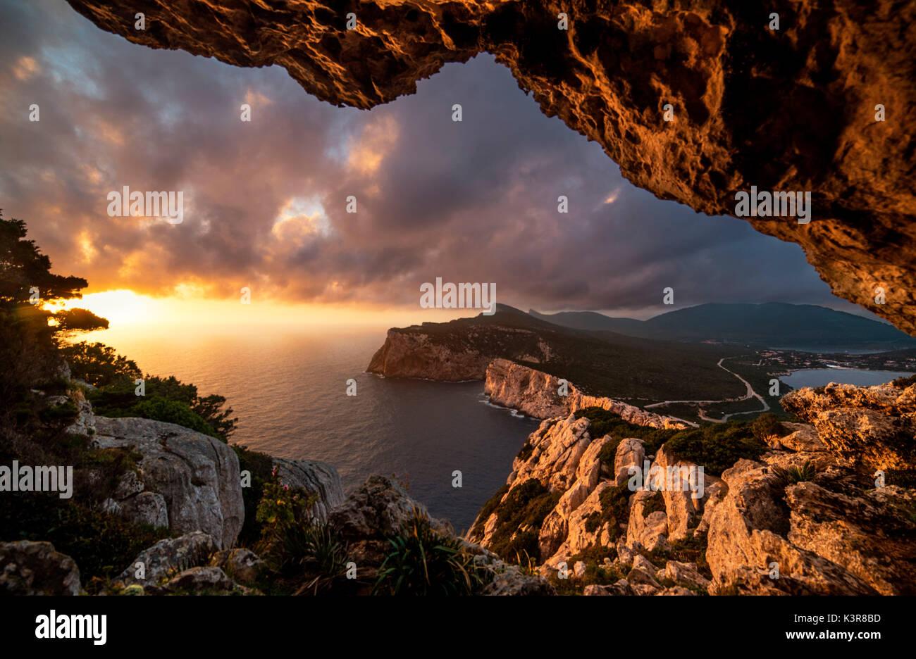 Vasi Rotti Grotte di Capo Caccia, Alghero, provincia di Sassari, Sardegna, Italia, Europa. Immagini Stock