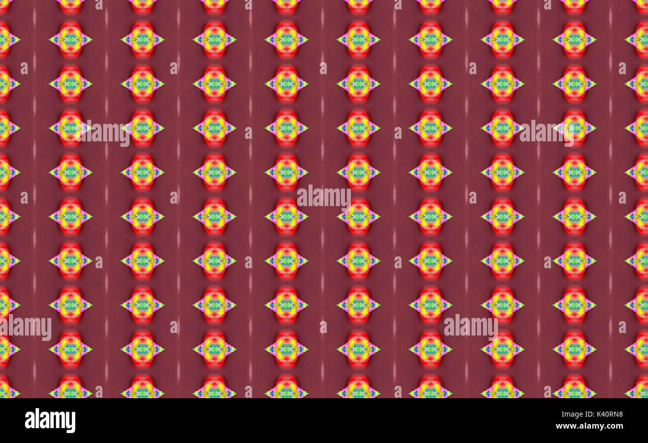 Strano brillantemente le forme colorate su sfondo rosso Immagini Stock