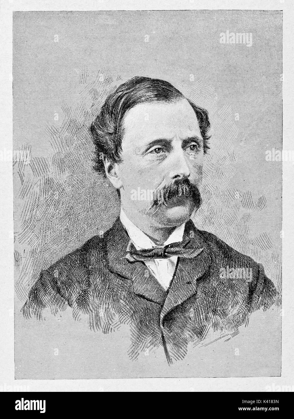 Antica close up ritratto di un uomo elegante con i baffi. Agostino Bertani  (1812 0de77f36a2f7
