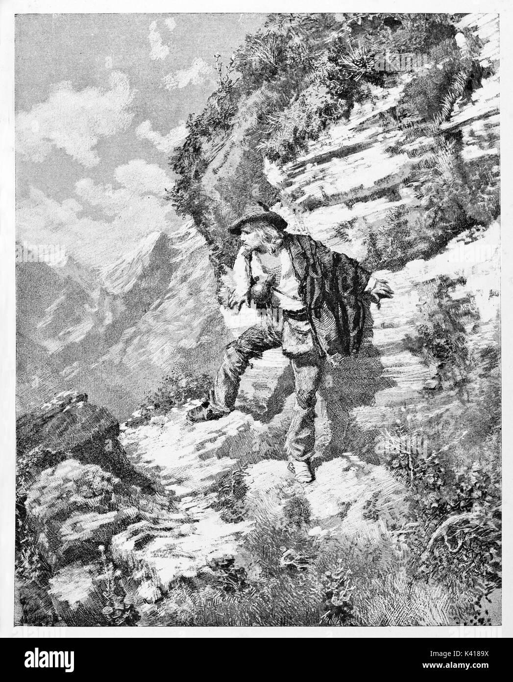 Antica giovane uomo scappa e nascondere attraverso le rocce. Garibaldi runaway nelle montagne di Sestri Levante Italia. Da E. Matania pubblicato su Garibaldi e i suoi tempi Milano Italia 1884 Immagini Stock