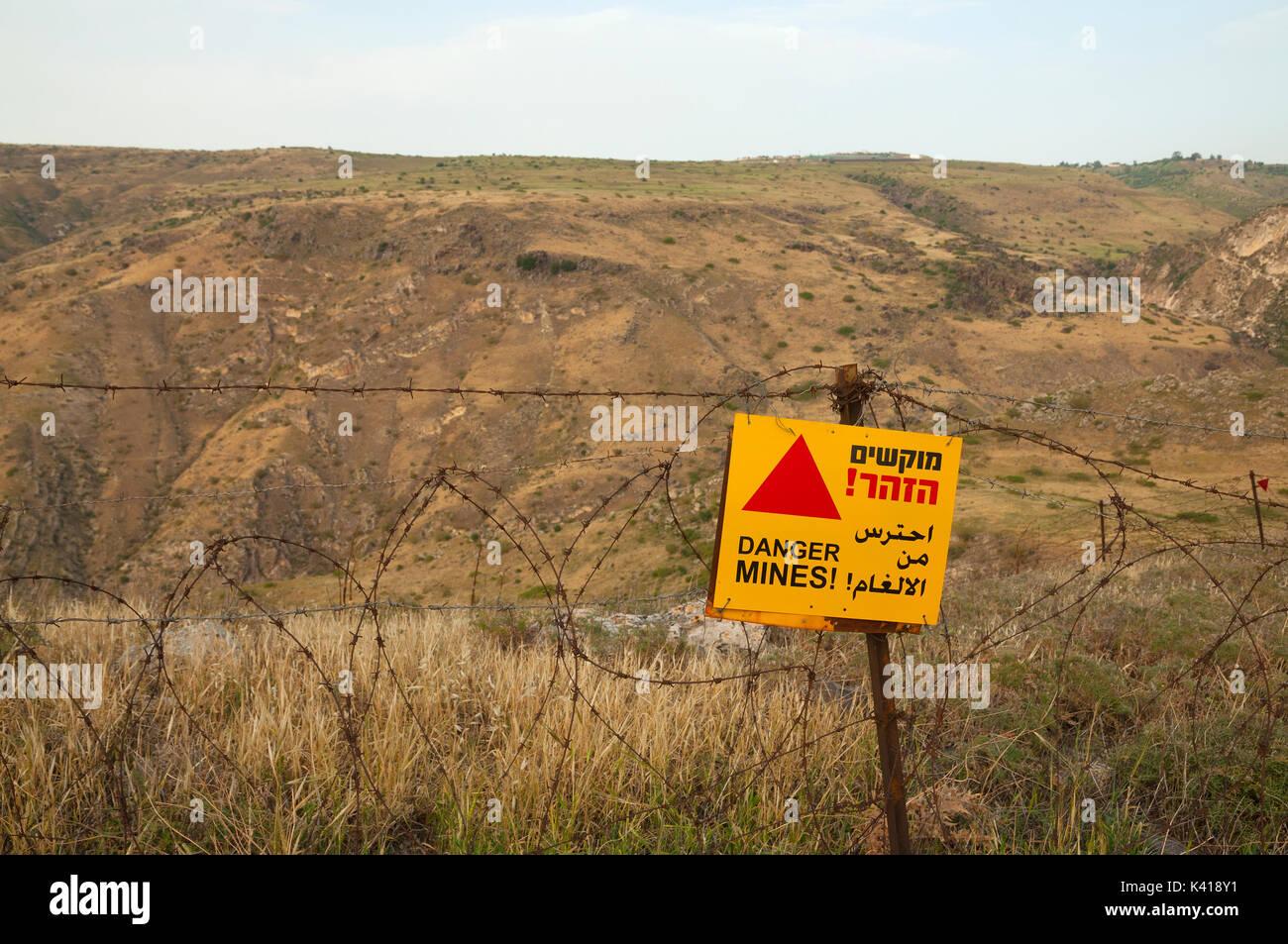 Alture del Golan e campi minati Immagini Stock