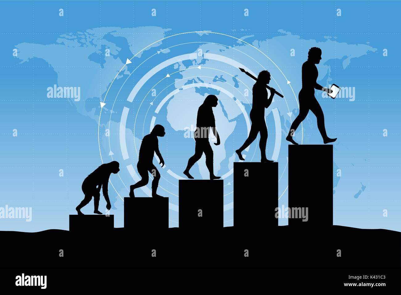 Evoluzione umana nella presente nel mondo digitale. Il rischio aziendale concetto! Immagini Stock