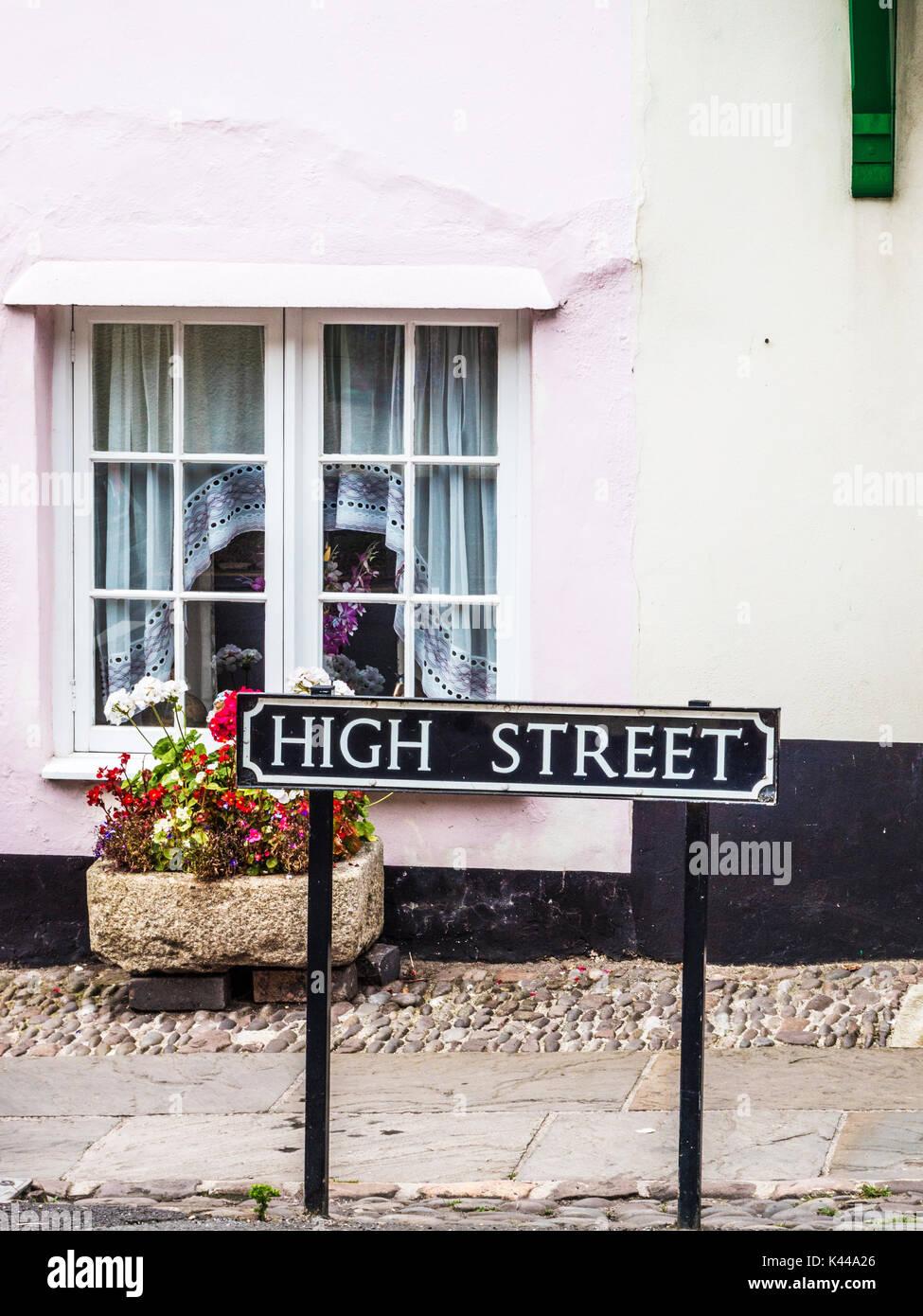 Generico tipico British High Street il nome della strada. Immagini Stock