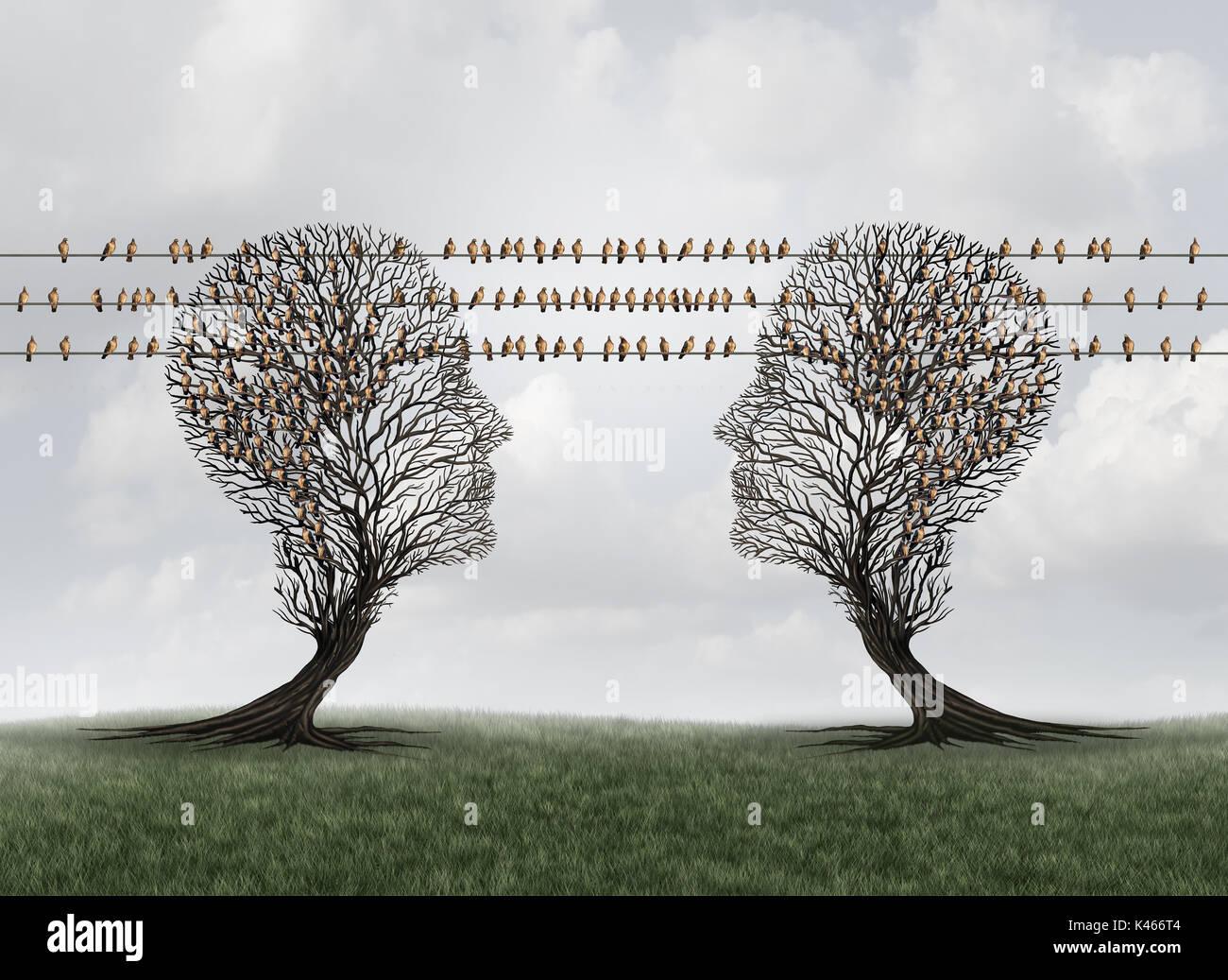 Collegamento della rete di comunicazione come alberi a forma di teste umane collegato con gli uccelli sui fili come messenger piccioni come dati internet icone di trasmissione Immagini Stock