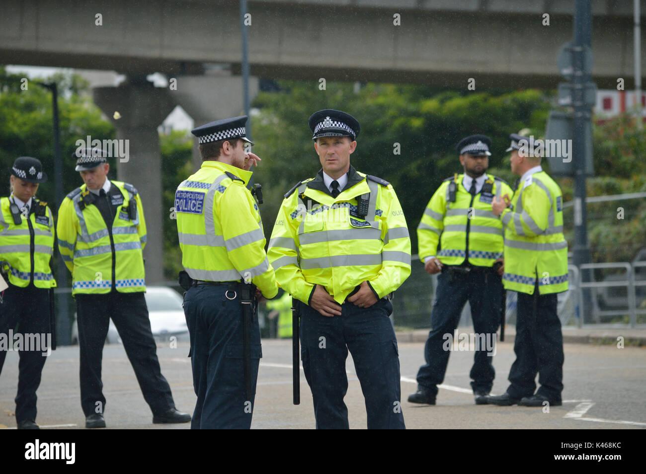 La Metropolitan Police sul dazio in Londra Immagini Stock