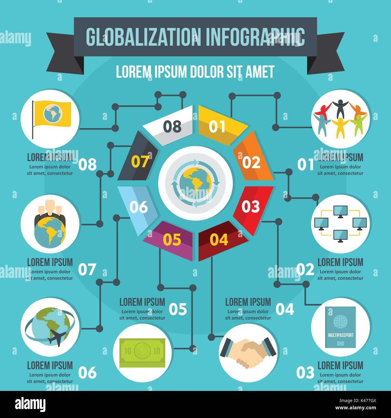 Globalizzazione ed infografico concetto, stile piatto Immagini Stock