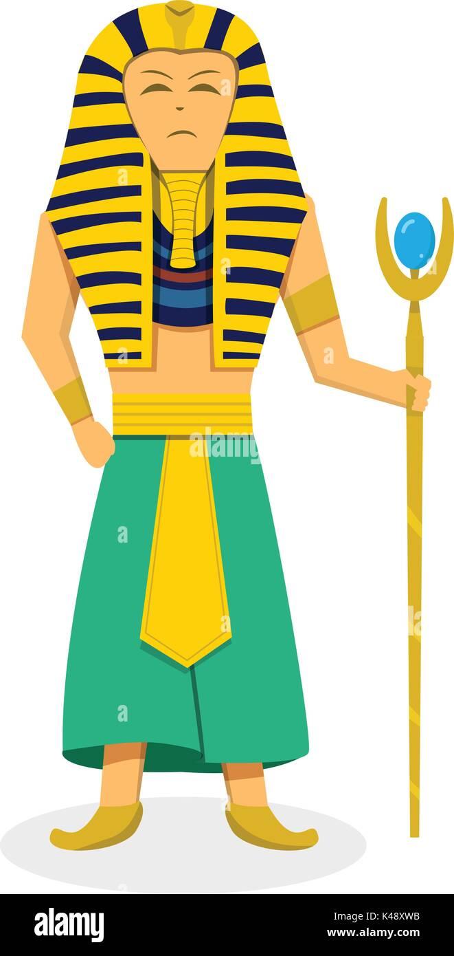 Disegno Di Un Faraone.Il Faraone Re Su Bianco In Stile Appartamento Disegno Vettoriale