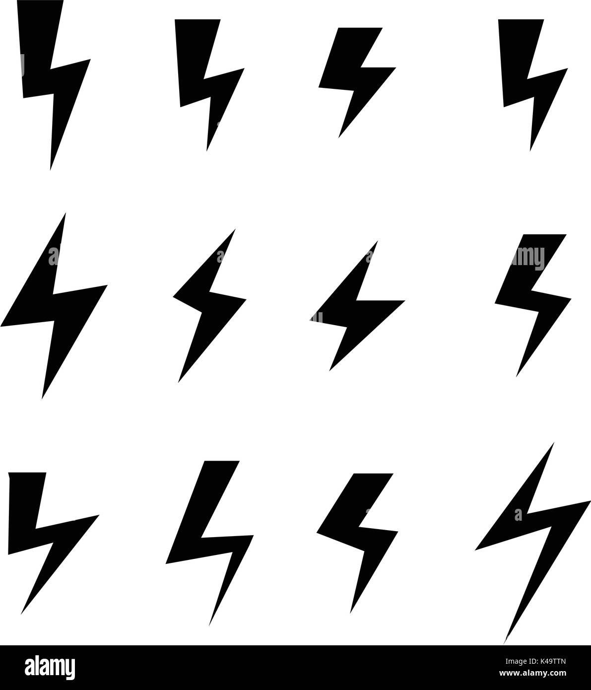 Icona Set Di Fulmini Disegno Vettoriale Illustrazione Vettoriale