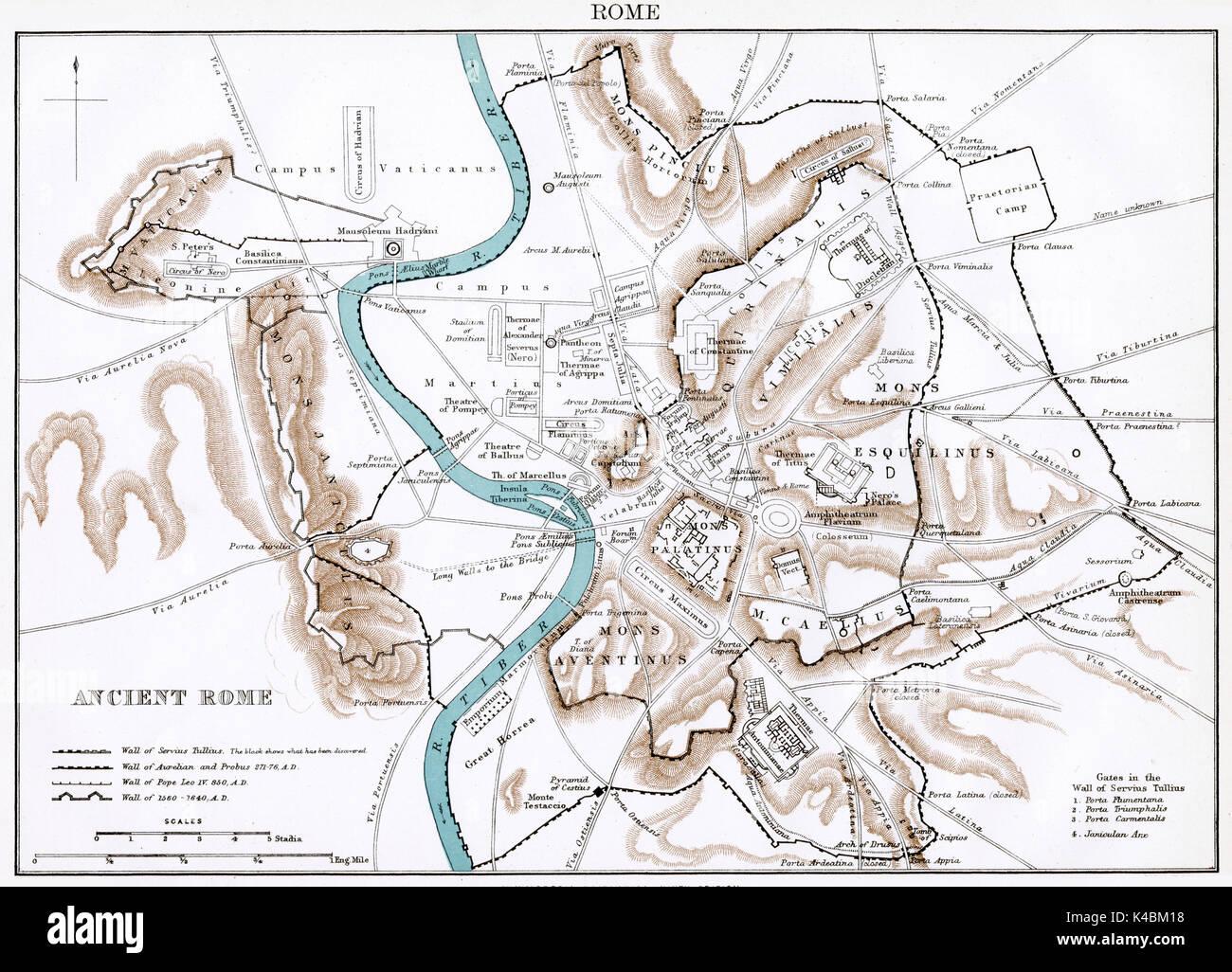 Cartina Antica Roma.Mappa Antico Circa 1875 Di Roma Antica Foto Stock Alamy