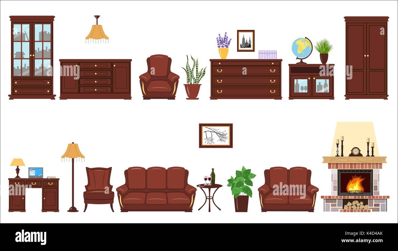 Grande set realistico di casa elementi di arredo per cabinet, biblioteca, salotto. Immagini Stock