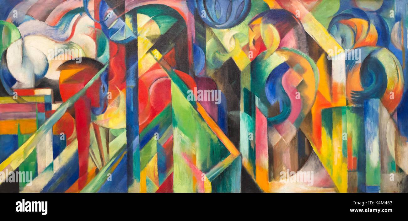 Maneggio, da Franz Marc, 1913, Solomon R Guggenheim Museum, Manhattan, New York City, Stati Uniti d'America, America del Nord Immagini Stock
