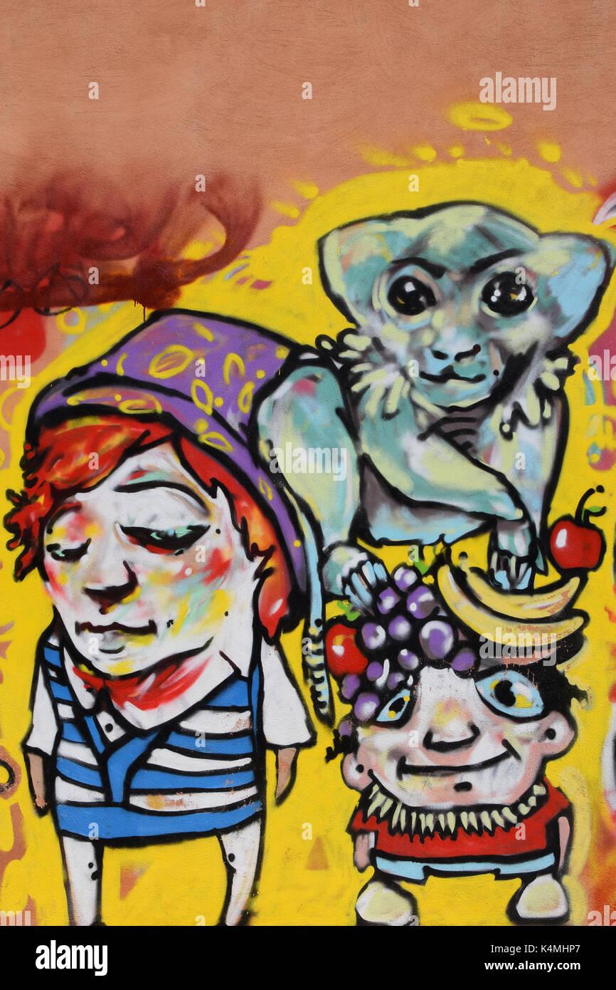 Athens grecia 27 aprile 2015: abstract graffiti scimmia con