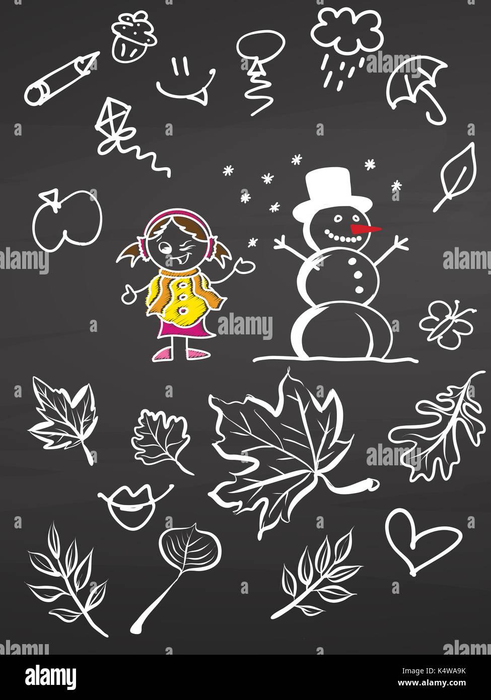 Bambina e pupazzo di neve con scarabocchi sulla lavagna, vettore handdrawn sketch, pulire delinea, in stile vintage Blackboard. Immagini Stock
