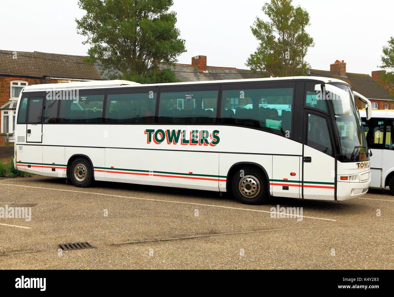 Towlers allenatori, pullman, gite di un giorno, viaggio, escursioni, escursione, società di viaggi, aziende, vacanza, vacanze, viaggi e trasporti, bus, England, Regno Unito Immagini Stock
