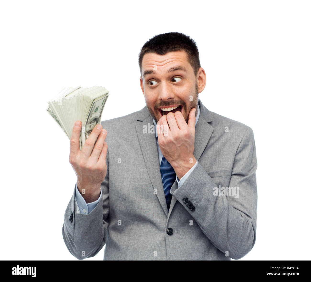 Imprenditore sorridente con il dollaro americano denaro Immagini Stock