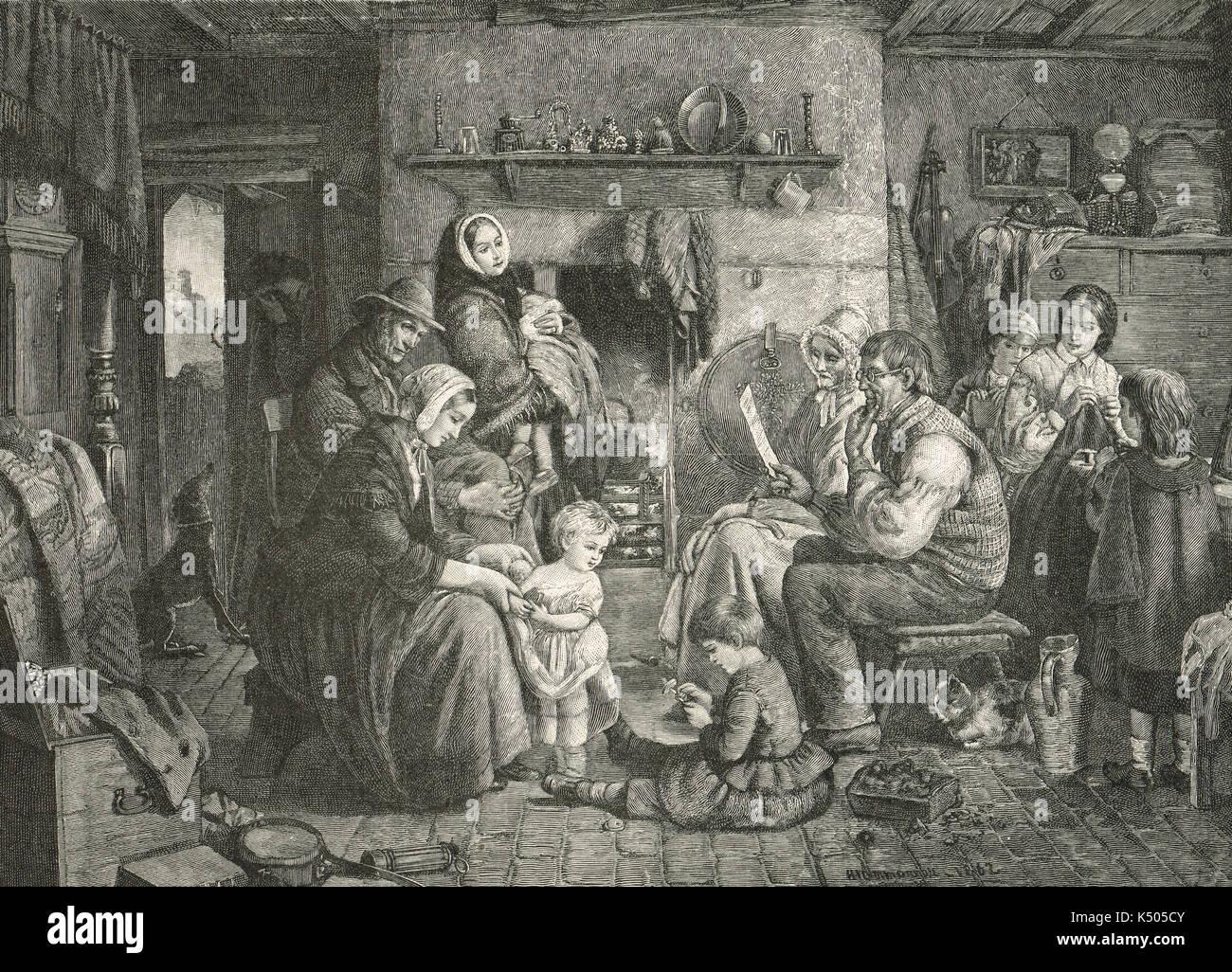 Lettera di cordoglio da Queen Victoria, letta dal clero alle vedove, Hartley colliery disastro, 1862 Immagini Stock