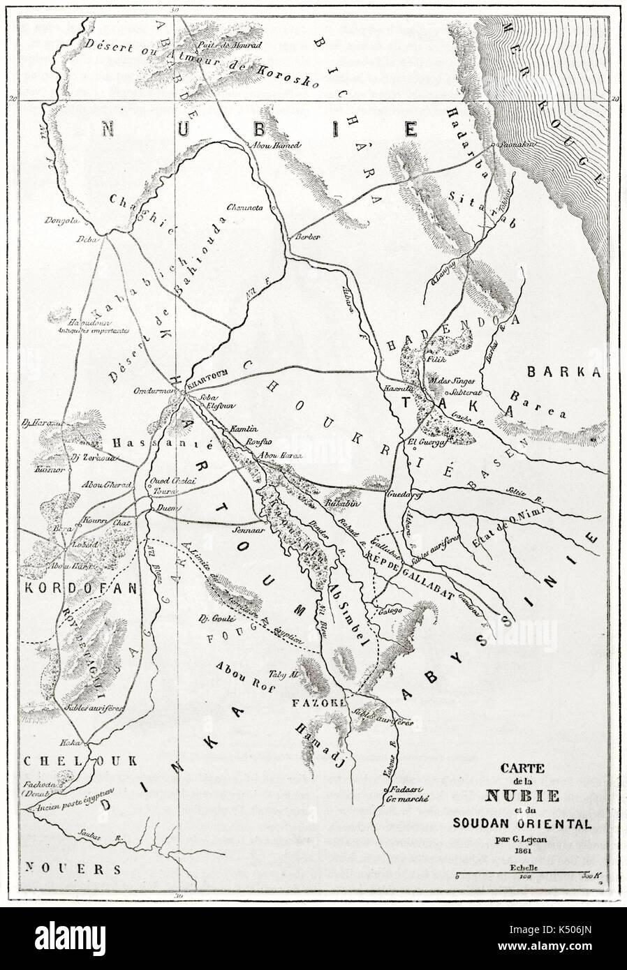 Cartina Dell Africa Orientale.Vecchia Cartina Topografica Della Nubia Regione Dell Africa