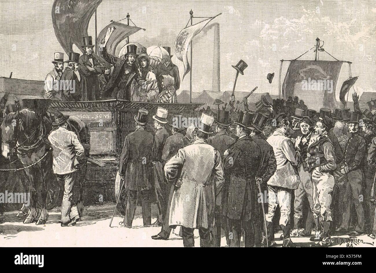 Chartist dimostrazione, kennington comune, 10 aprile 1848 Immagini Stock