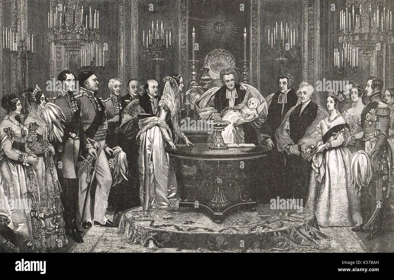 La cerimonia di battesimo di victoria princess royal, 10 febbraio 1841 Foto Stock